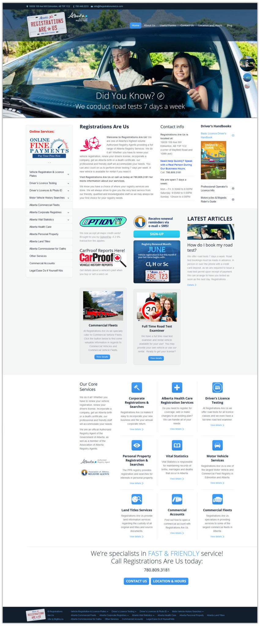 Registrations are us tall website layout