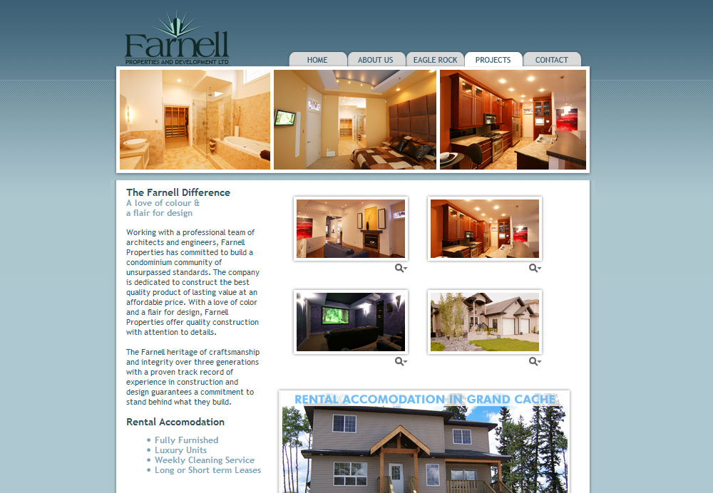 Farnell Properties website design