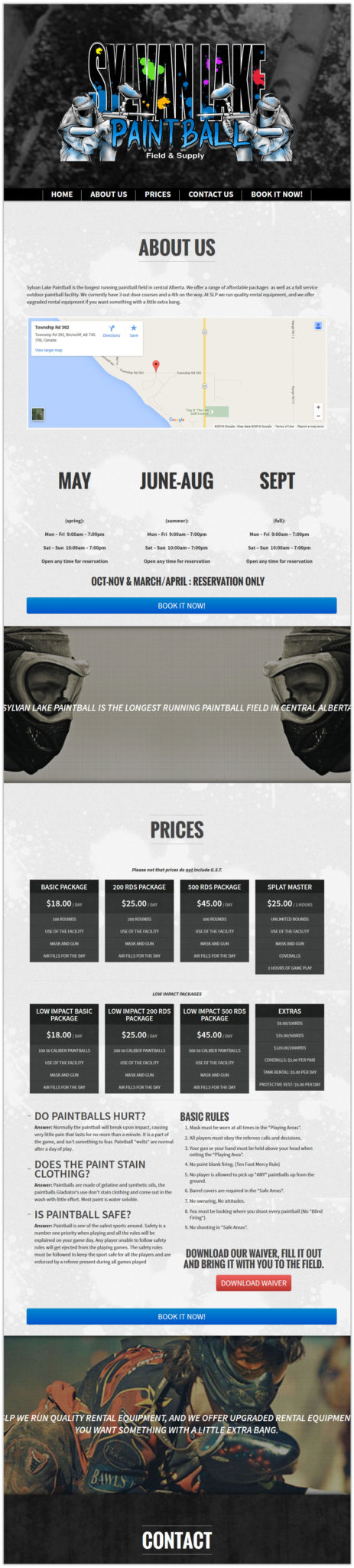 Sylvan lake paintball website design page layout